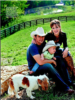 Brad Paisley's family with their Cavalier King Charles Spaniel