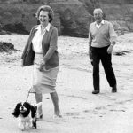 Margaret Thatcher with her Cavalier King Charles Spaniel