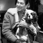 Ronald Reagan with his Cavalier King Charles Spaniel